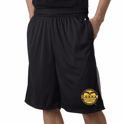 COBRA - Black Athletic Mesh Shorts With Custom Embroidered Logo