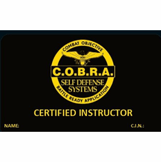 Official COBRA Instructor Verification Card - With Your Name and Instructor Number - Front and Back Credentials