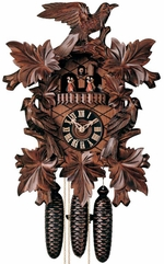 "GERMAN CUCKOO CLOCK:  16"" LEAF & BIRD w/ DANCERS  8 DAY MOVEMENT"