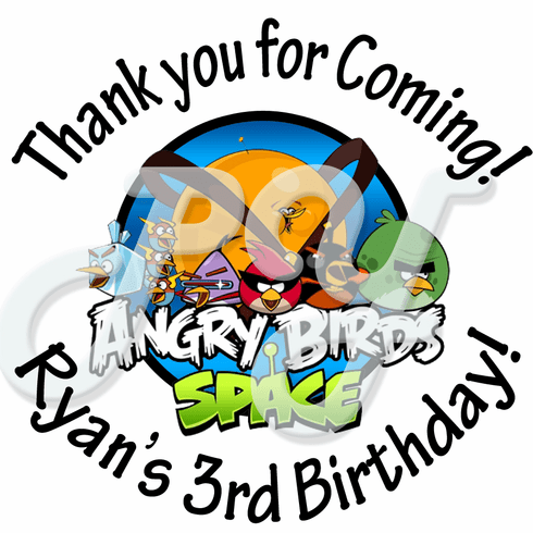 24 Angry Birds Space personalized birthday Stickers