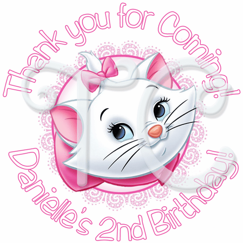 24 Aristocats Marie Personalized Birthday stickers