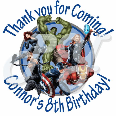 24 Avengers personalized birthday stickers