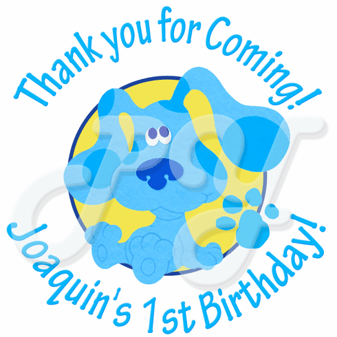 24 Blue's Clues  personalized birthday stickers