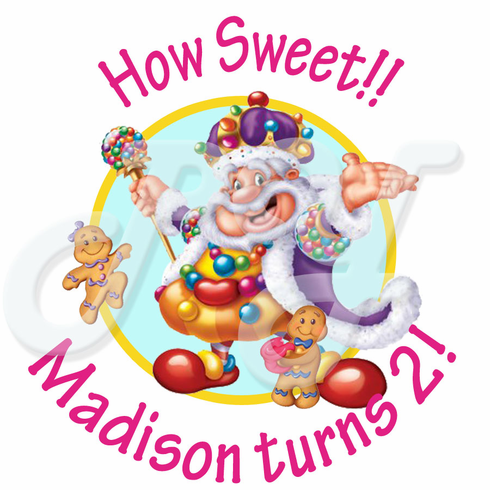 24 Candyland Personalized Birthday Stickers
