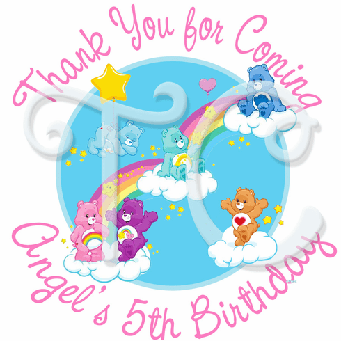 24 Care Bears personalized Birthday stickers