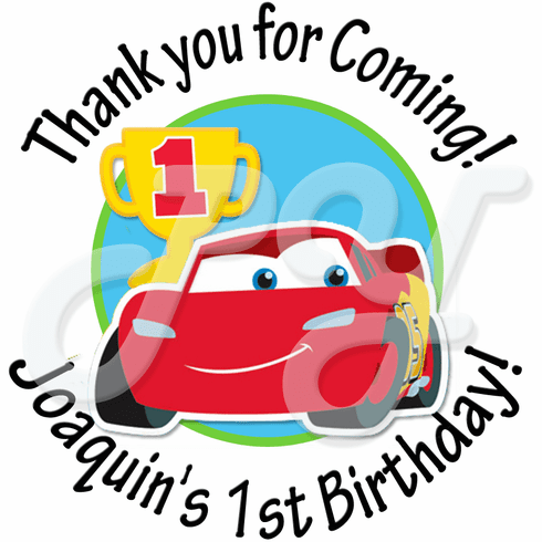 24 Cars 1st Birthday personalized Stickers