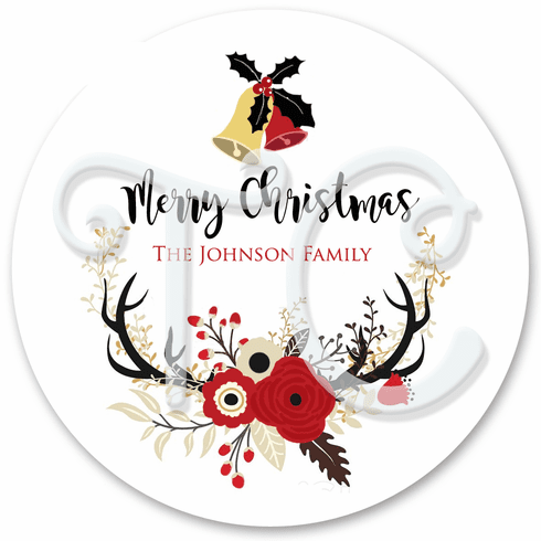 24 Christmas Floral Wreath Personalized Stickers