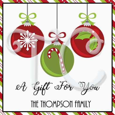 24 Christmas Ornaments Personalized Stickers