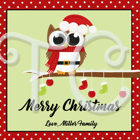 24 Christmas Owl personalized stickers