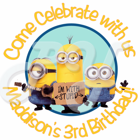 24 Despicable me Minions personalized Birthday stickers