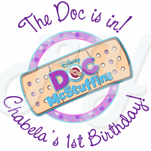 24 Doc McStuffins Personalized Birthday Stickers