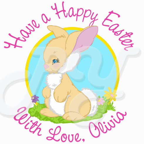 24 Easter Bunny Personalized Stickers