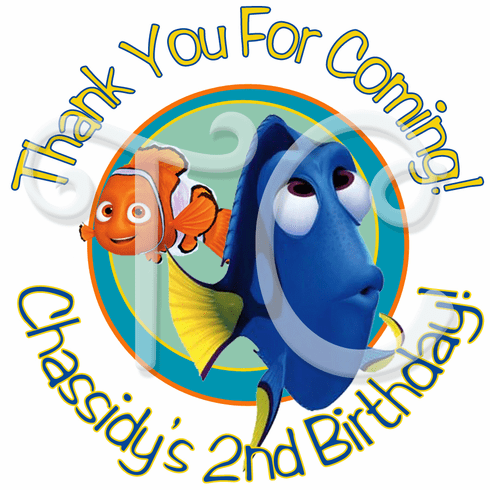 24 Finding Dory Personalized Birthday Stickers