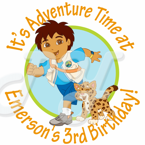 24 Go Diego Go Personalized Birthday Stickers