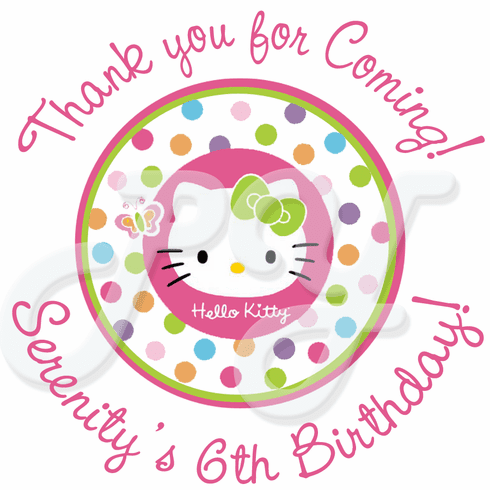 a2c2162c4 2 Sheets of Hello Kitty personalized birthday stickers