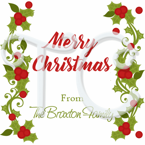 24 Holly and Berries personalized Christmas stickers