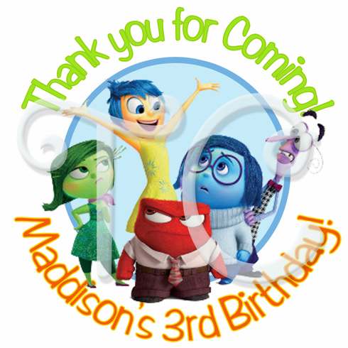 24 Inside Out Personalized Birthday Stickers