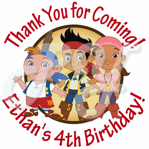 24 Jake and the Never Land Pirates personalized birthday stickers