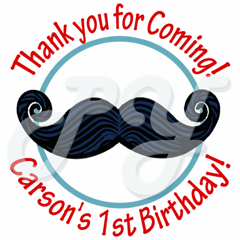 24 Little Man Mustache Personalized Birthday Stickers