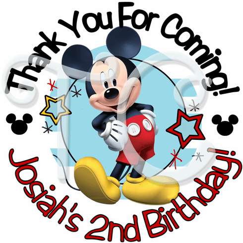 24 Mickey Mouse Birthday Personalized Stickers