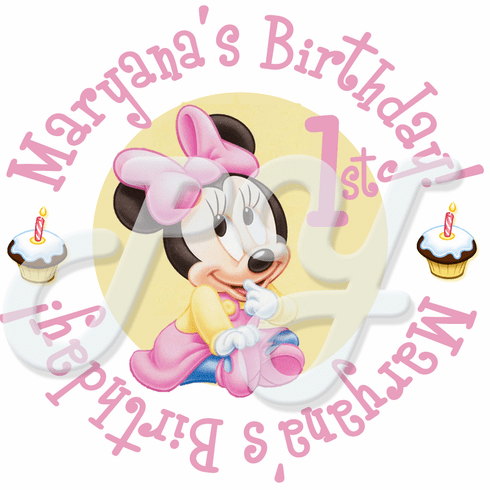 24 Minnie Mouse 1st  personalized birthday stickers