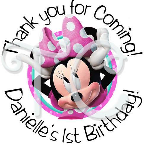 24 Minnie Mouse Personalized Birthday Sticker