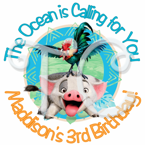 24  Moana Personalized Birthday Stickers