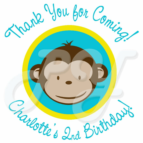 24 Mod Monkey Personalized Stickers