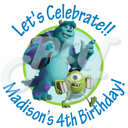 24 Monsters University Personalized Birthday Stickers
