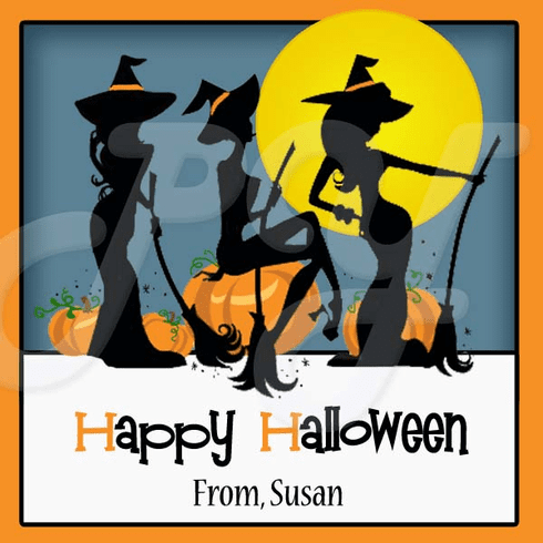 24 Personalized Sexy witch Halloween Stickers