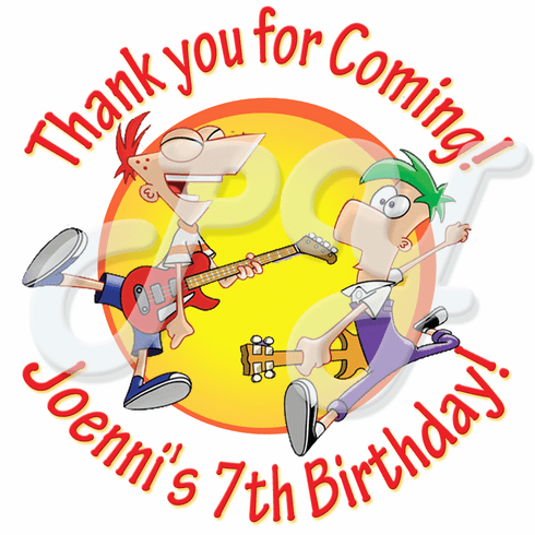 24 Phineas and Ferb personalized birthday stickers