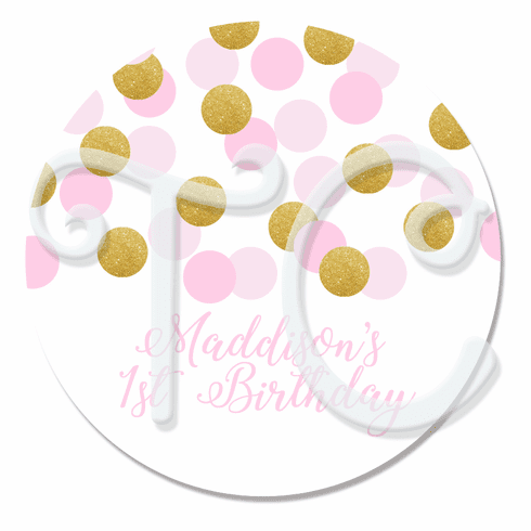 24 Pink and Gold Personalized Stickers