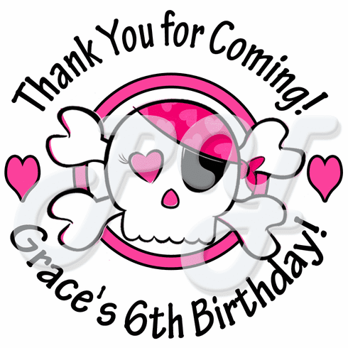 24 Pink Skull Personalized Birthday Stickers