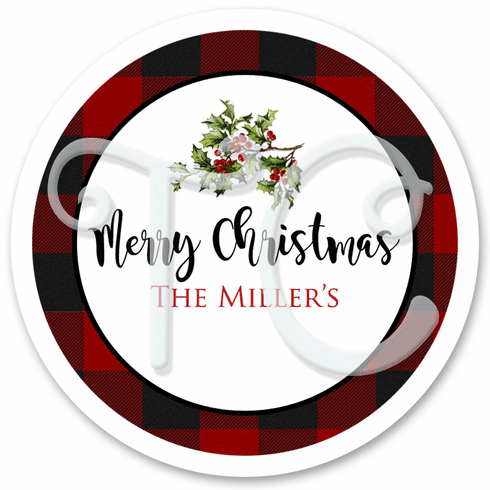 24 Plaid Christmas stickers