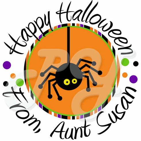 24 Polka dot Spider Halloween stickers
