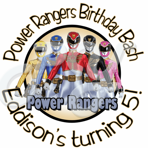 24 Power Rangers Megaforce personalized birthday stickers