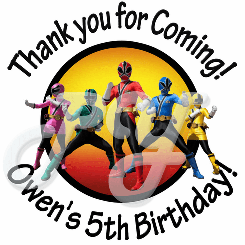 24 Power Rangers personalized birthday stickers