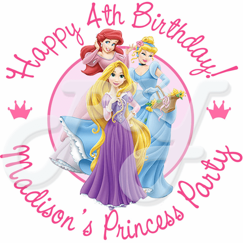 24 princess personalized birthday party stickers
