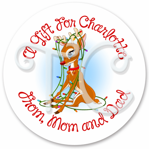 24 Reindeer Personalized Holiday stickers