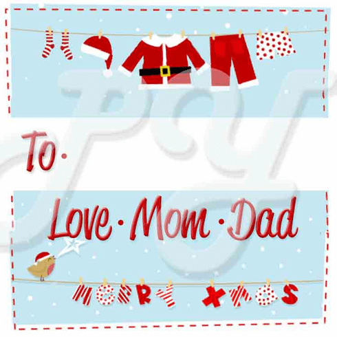 24 Santa Clothes Line Personalized Christmas Stickers
