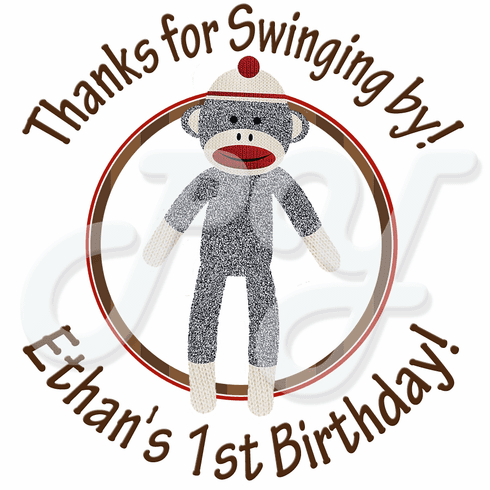 24 Sock Monkey Personalized Birthday stickers