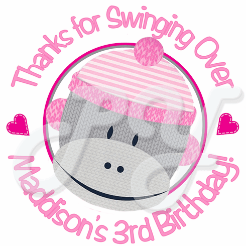 24 Sock Monkey Pink personalized Birthday stickers