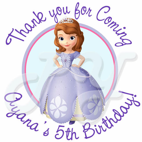 24 Sofia the First personalized birthday Stickers