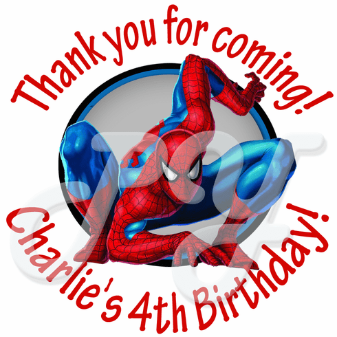 24 Spiderman personalized birthday stickers