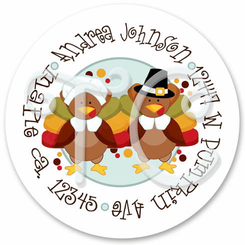 24 Thanksgiving Turkey Pilgrims personalized stickers