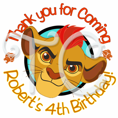 24 The Lion Guard Kion Personalized Birthday Stickers