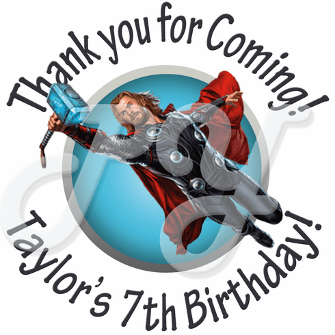 24 Thor Personalized Birthday Stickers
