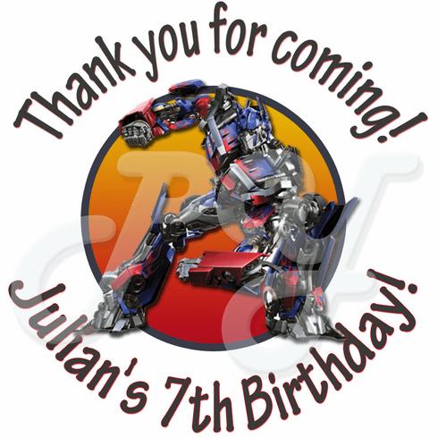 24 Transformers Personalized birthday stickers