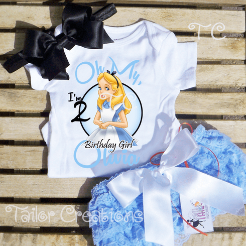 Alice in Wonderland Personalized Birthday Petti Lace Set