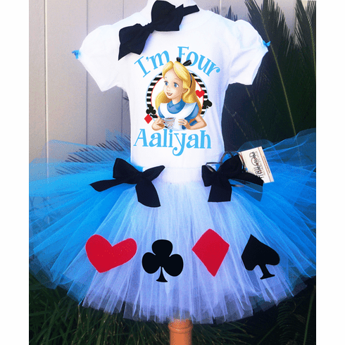 Photo Prop Mad Hatter Tutu Outfit Sewn Tutu Hair Bow Teacup Tutu Outfit Birthday Tutu Set Personalized Bodysuit Alice in Wonderland